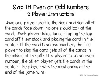 "Even and Odd ""Slap It!"" Differentiated Game"