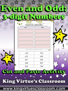 Even and Odd: 3-digit Numbers Cut and Paste Activity #1 - King Virtue