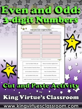 Even and Odd: 3-digit Numbers Cut and Paste Activity #2 - King Virtue