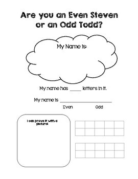 Even and Odd Activities and Materials