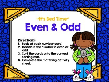 "Even and Odd Anytime Math Center for Second Grade ""Pajama Kids"""