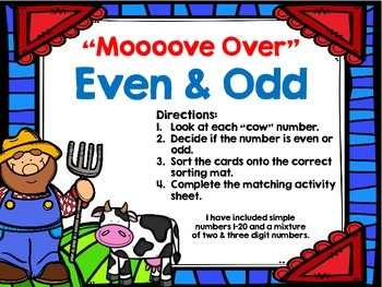 """Even and Odd Anytime Math Centers for First and Second Grade """"On The Farm"""""""
