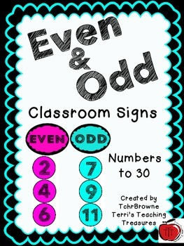 Even and Odd Classroom Signs - Turquoise and Pink