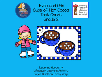 Even and Odd Cups of Hot Cocoa   Task Cards  Grade 2