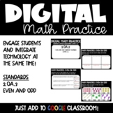 Even and Odd Digital Math Practice for 2nd Grade