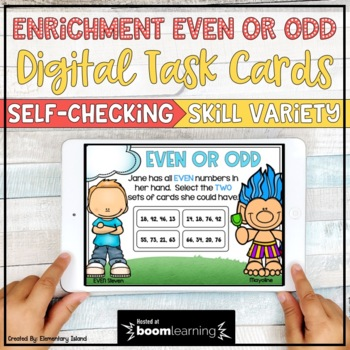 Even and Odd Task Cards Digital BOOM Cards for 2nd Enrichment
