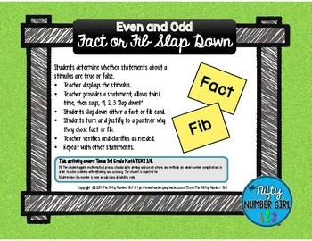 Even and Odd Fact or Fib Slap Down TEKS 3.4I