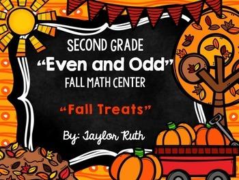 "Even and Odd Fall Math Center for Second Grade ""Fall Treats"""