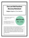 Even and Odd Functions Discovery Worksheet