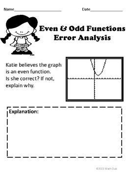 Even and Odd Functions: No Prep Lesson