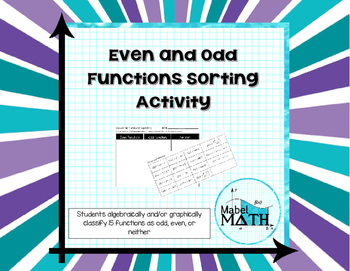 Even and Odd Functions Sorting Activity