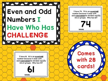 Even and Odd I Have Who Has Challenge/Assessment