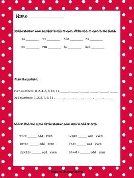 Even and Odd Math Sheet