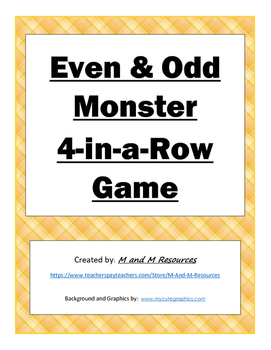 Even and Odd Monster 4-in-a-Row Game LOW COLOR