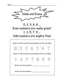 Even and Odd Number Chant and Practice Page (Worksheet)