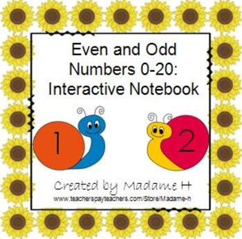 Even and Odd Numbers 0-20 Interactive Notebook