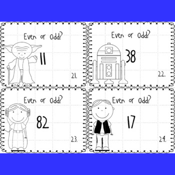 Even and Odd Numbers (1 and 2 digit numbers) Task Cards