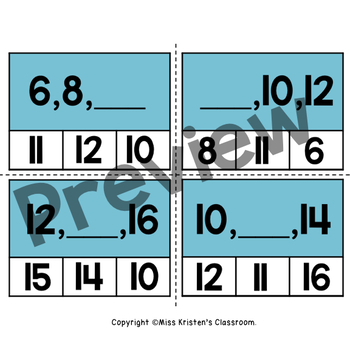 Even and Odd Numbers Clip Task Cards (1-20)
