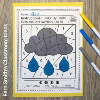 2nd Grade Go Math 1.1 Even and Odd Numbers Color By ...