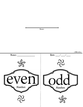 Even and Odd Numbers Foldable