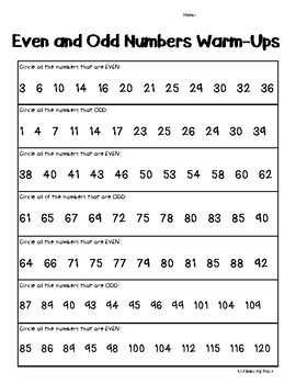 Even and Odd Numbers Math Warm-Ups