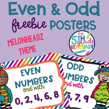 Even and Odd Numbers Poster Anchor Chart FREEBIE Monster Theme
