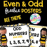 Even and Odd Numbers Poster Anchor Chart FREEBIE Bee Theme