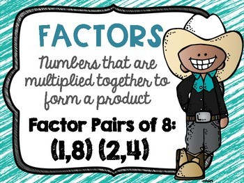 Factors and Multiples Poster Anchor Chart FREEBIE Cowboy Cowgirl Theme