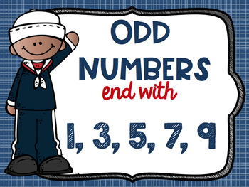 Even and Odd Numbers Poster Anchor Chart FREEBIE Nautical Theme