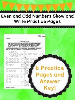 Even and Odd Numbers Show and Write Practice Pages