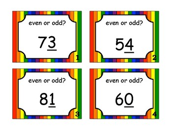 Even and Odd Task Cards (Numbers Greater than 20)