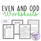 Even and Odd Numbers Worksheets ( 2.OA.C.3 )