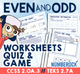 Even and Odd Numbers Worksheets  ★ Odds & Evens Game ★ Math TEK 2.7A or 2.OA.3