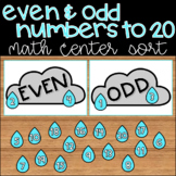 Even and Odd Numbers to 20 Spring Themed Math Center Sorting Game