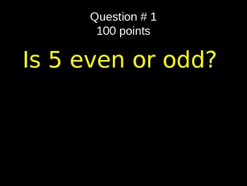 2nd Grade Even and Odd Powerpoint Review Game