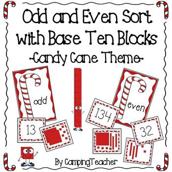 Even and Odd Sort Math Center Candy Cane Theme