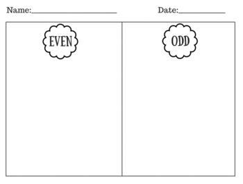 Even and Odd Sort Graphic Organizer