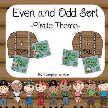 Even and Odd Sort Math Center Pirate Theme
