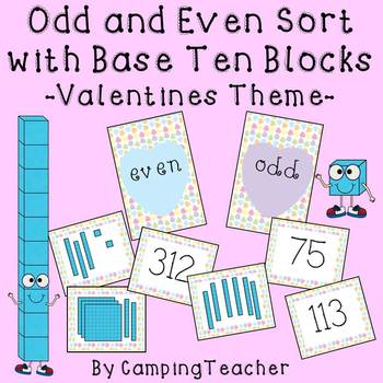 Even and Odd Sort Math Center Valentine's Day Theme