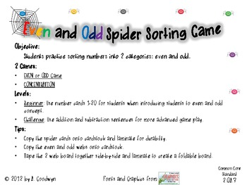 Even and Odd Spider Sort Game