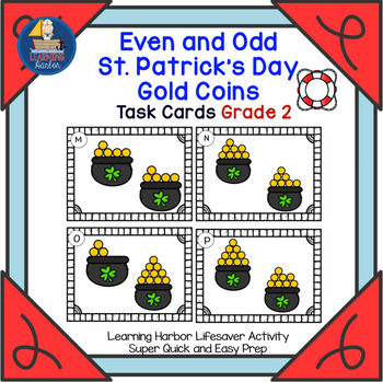 Even and Odd St. Patrick's Day Gold Coins  Task Cards  Grade 2