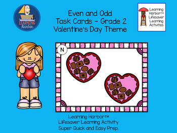 Even and Odd Valentine Candy  Task Cards  Grade 2