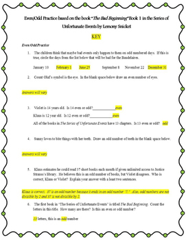 Even and Odd Worksheet (The Bad Beginning Themed)