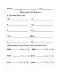 Even and Odd Worksheets