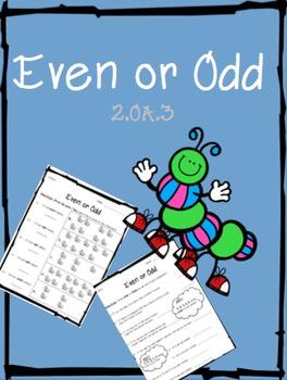 Even or Odd 2.OA.3 Worksheets
