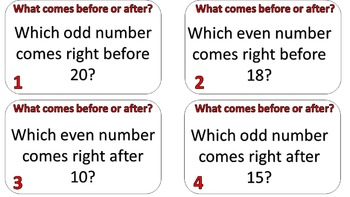 Even or Odd, Before or After Task Cards