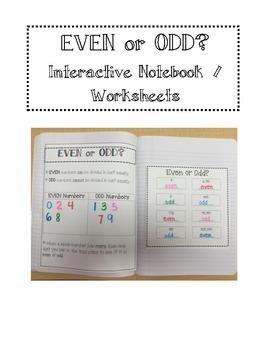 Even or Odd Intereactive Notebook/ Worksheets