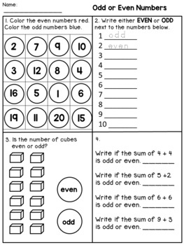 odd and even worksheets 2nd grade by dana 39 s wonderland tpt. Black Bedroom Furniture Sets. Home Design Ideas