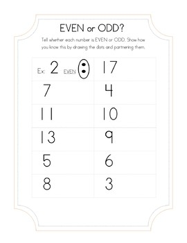 Even or Odd Numbers Independent Practice