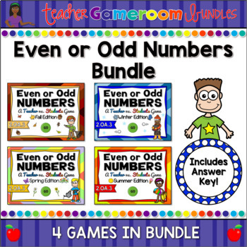 Even or Odd Numbers Seasons Powerpoint Game Bundle